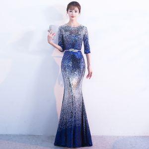 Glitzernden Silber Königliches Blau Pailletten Abendkleider 2017 Mermaid Rundhalsausschnitt 3/4 Ärmel Metall Stoffgürtel Lange Sternenklarer Himmel Festliche Kleider
