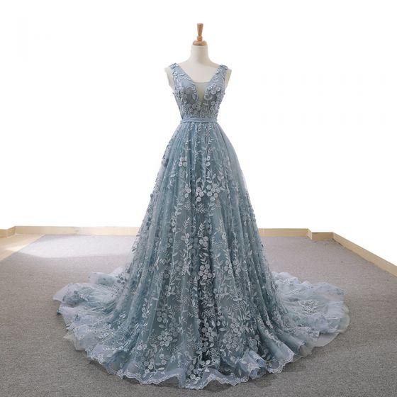 High-end Grey Sky Blue Evening Dresses  2020 A-Line / Princess See-through Deep V-Neck Sleeveless Appliques Lace Beading Court Train Ruffle Backless Formal Dresses