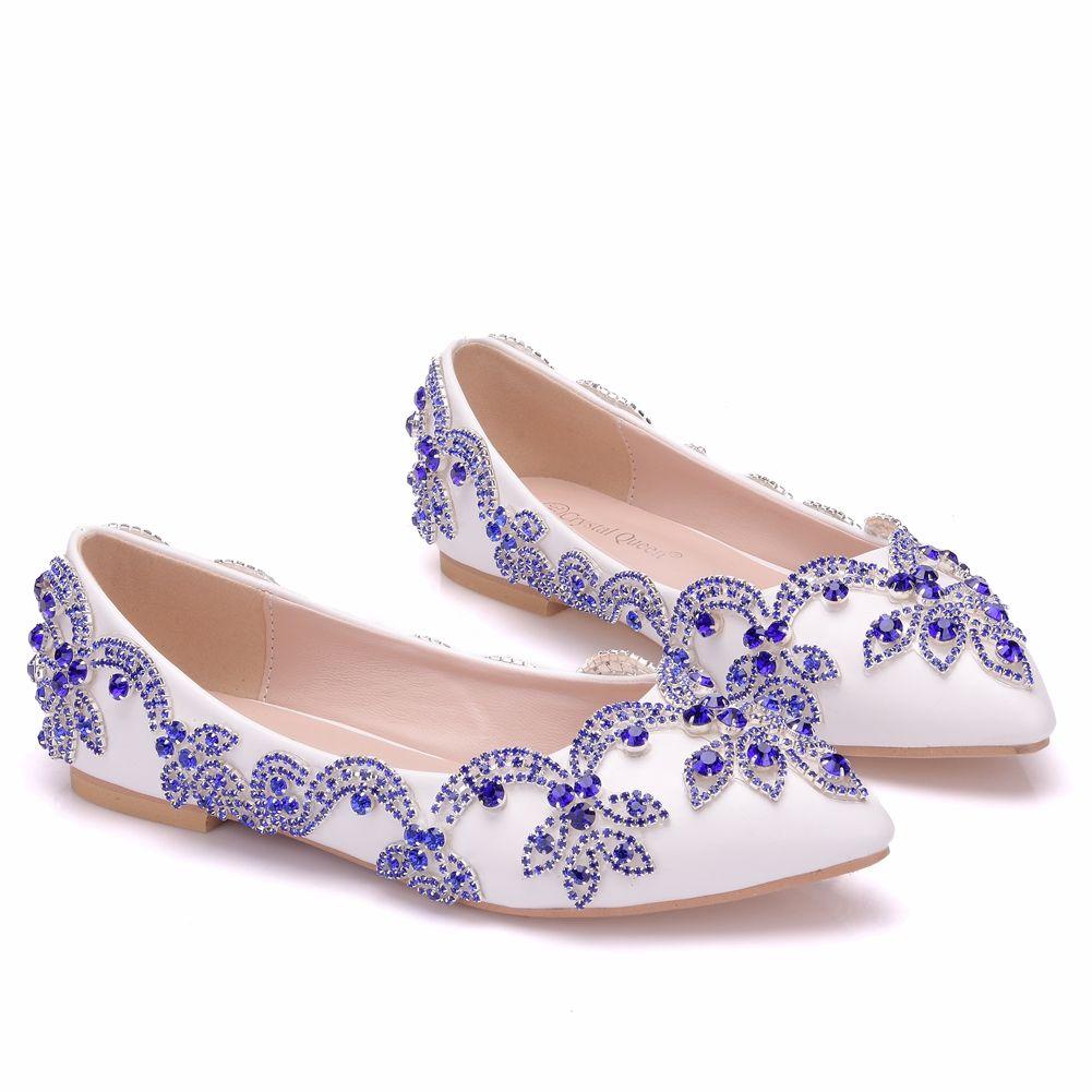 Chic / Beautiful White Wedding Shoes 2018 Rhinestone Pointed Toe Flat Wedding