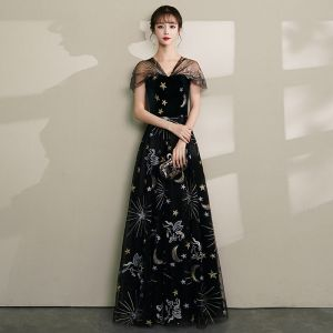 Moderne / Mode Noire Robe De Soirée 2019 Princesse V-Cou En Dentelle Étoile Daim Mancherons Dos Nu Longue Robe De Ceremonie