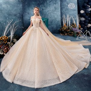 Sparkly Champagne Wedding Dresses 2019 Ball Gown Off-The-Shoulder Short Sleeve Backless Glitter Tulle Appliques Lace Beading Royal Train Ruffle