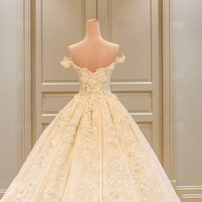 Amazing / Unique Champagne Wedding Dresses 2017 Ball Gown Lace Flower Backless Tulle Sweetheart Short Sleeve Hall