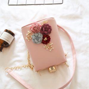 Schön Romantisch Rosa Clutch Tasche Perlenstickerei Blumen Perle Cocktail Abend Brautaccessoires 2019
