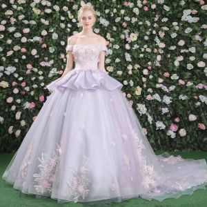 Klassisch Ballkleider 2017 Mit Spitze Applikationen Blumen Rückenfreies Off Shoulder Kurze Ärmel Kapelle-Schleppe Lila Ball Ballkleid