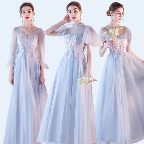 Affordable Sky Blue Bridesmaid Dresses 2020 A-Line / Princess Backless Appliques Lace Ankle Length Ruffle