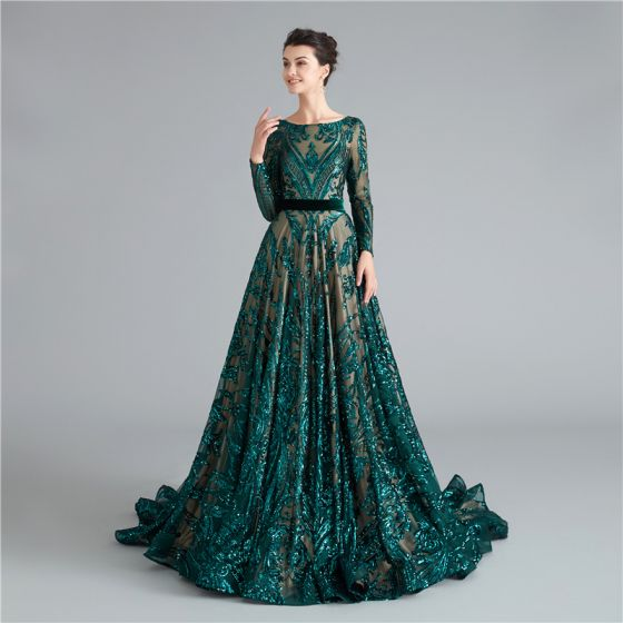 Sparkly Dark Green Sequins Evening Dresses  Prom Dresses 2021 A-Line / Princess Sash Scoop Neck Long Sleeve Backless Floor-Length / Long Evening Party Prom Formal Dresses