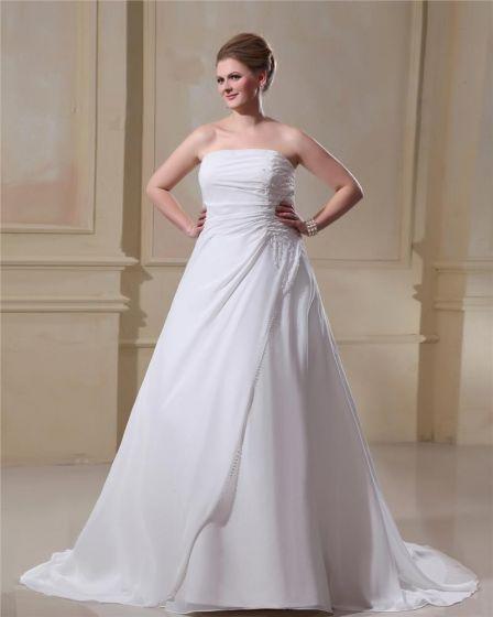Chiffon Beads Strapless Plus Size Bridal Gown Wedding Dress