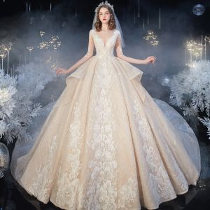 Romantic Champagne Bridal Wedding Dresses 2020 Ball Gown See-through Deep V-Neck 1/2 Sleeves Backless Flower Appliques Lace Beading Royal Train Ruffle