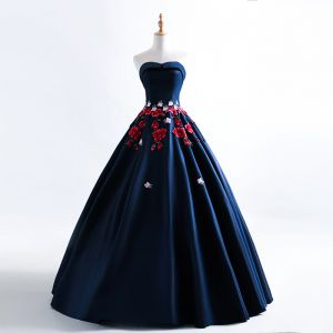 Chic / Beautiful Navy Blue Prom Dresses 2019 A-Line / Princess Sweetheart Appliques Lace Sleeveless Backless Floor-Length / Long Formal Dresses