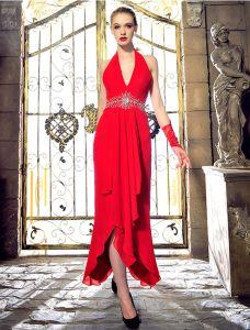 Fashion Grime V-hals Beading Rhinestone Krystall Ryggløse Rød Chiffon Selskapskjole
