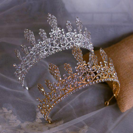 Chic / Beautiful Bridal Hair Accessories 2020 Metal Rhinestone Tiara Wedding Accessories