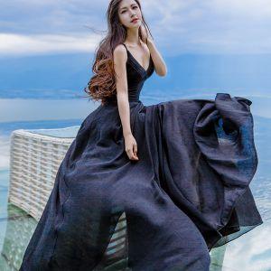 Sexy Zwarte Huwelijksreis Maxi-jurken 2019 Spaghettibandjes Mouwloos Ruglooze Lange Dameskleding