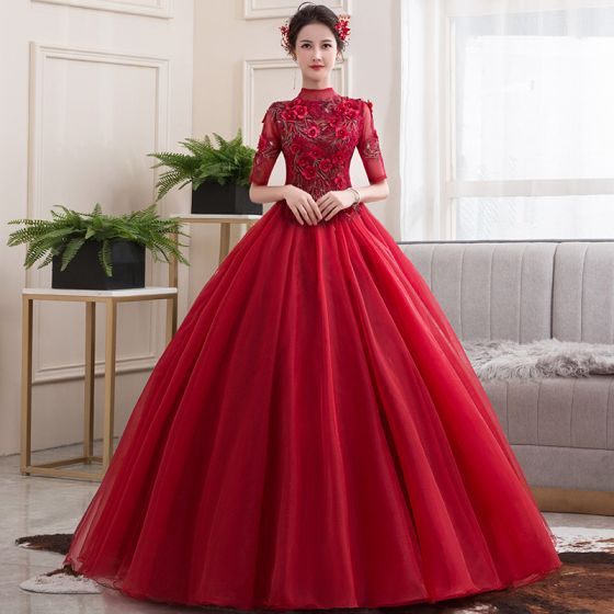 Vintage / Retro Red Dancing Prom Dresses 2020 Ball Gown See-through High Neck 1/2 Sleeves Appliques Lace Flower Beading Floor-Length / Long Ruffle Formal Dresses
