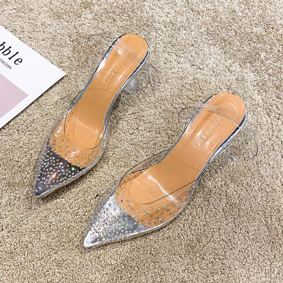 Transparent Argenté Désinvolte Faux Diamant Sandales Femme 2020 9 cm Talons Aiguilles À Bout Pointu Sandales