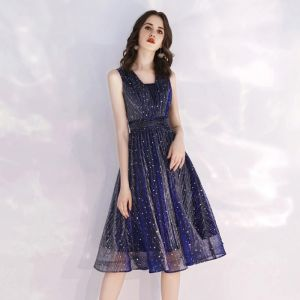 Glitter Starry Sky Navy Blue Homecoming Graduation Dresses 2019 A-Line / Princess Square Neckline Sleeveless Tea-length Ruffle Backless Formal Dresses