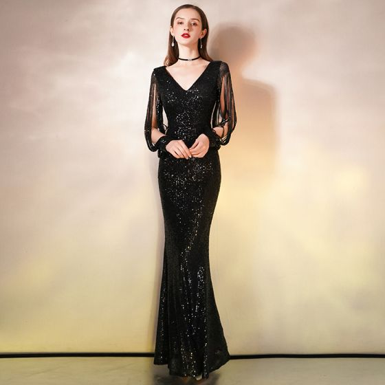 Glitzernden Schwarz Pailletten Abendkleider 2020 Meerjungfrau V-Ausschnitt Perlenstickerei Lange Ärmel Lange Festliche Kleider