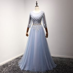 Chic / Beautiful Sky Blue Evening Dresses  2017 A-Line / Princess Scoop Neck 3/4 Sleeve Beading Crystal Rhinestone Metal Sash Floor-Length / Long Ruffle Backless Formal Dresses