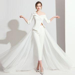 Mode Weiß Overall 2019 One-Shoulder 3/4 Ärmel Sweep / Pinsel Zug Rückenfreies Abendkleider