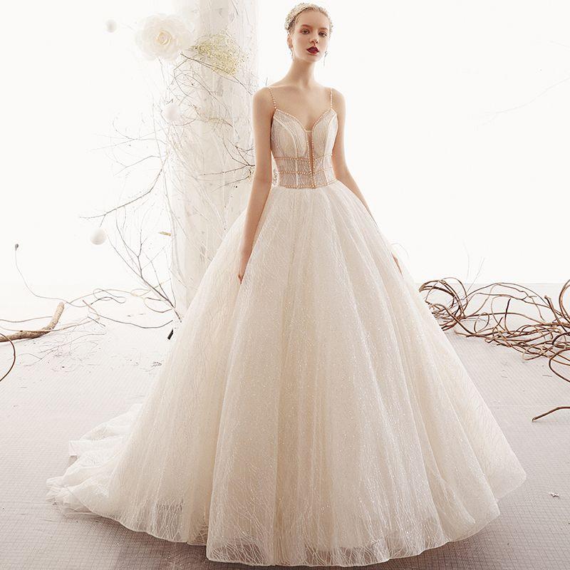 Bling Bling Champagner Brautkleider / Hochzeitskleider 2019 A Linie Spaghettiträger Ärmellos Rückenfreies Perlenstickerei Glanz Tülle Hof-Schleppe Rüschen