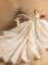 Luxus / Herrlich Champagner Brautkleider / Hochzeitskleider 2019 A Linie Rundhalsausschnitt Perlenstickerei Perle Strass Spitze Blumen Lange Ärmel Rückenfreies Kathedrale Schleppe