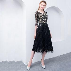 Moderne / Mode Noire Thé Longueur Robe De Graduation 2018 Princesse V-Cou Tulle Paillettes Impression de retour Robe De Ceremonie