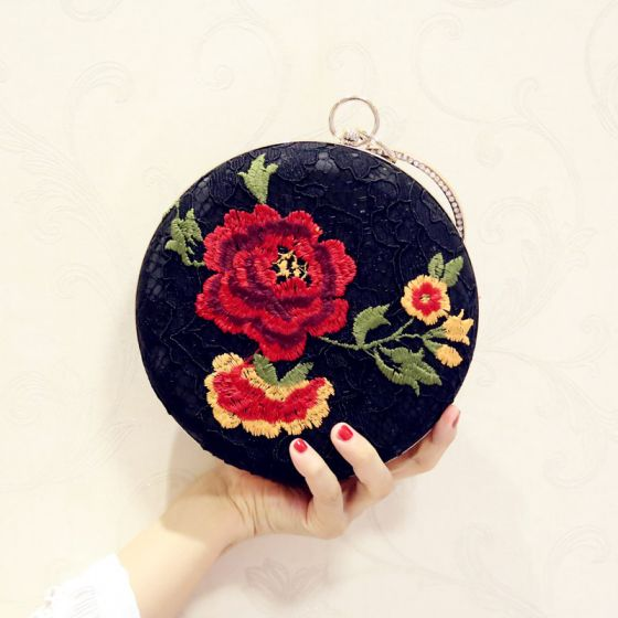 Chic / Beautiful Black Lace Embroidered Clutch Bags 2018