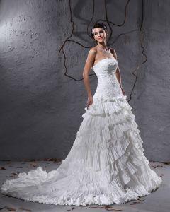 Rüschen Geschichteten Spitze Gericht Reich Brautkleider Hochzeitskleid