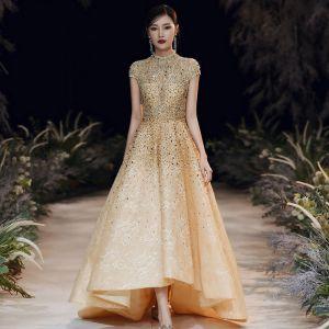 Vintage Gold Abendkleider 2020 A Linie Stehkragen Kurze Ärmel Handgefertigt Perlenstickerei Sweep / Pinsel Zug Rüschen Festliche Kleider