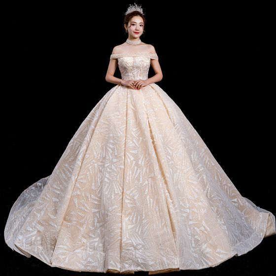 High-end Champagne Wedding Dresses 2020 Ball Gown Off-The-Shoulder Short Sleeve Backless Sequins Beading Cathedral Train Ruffle