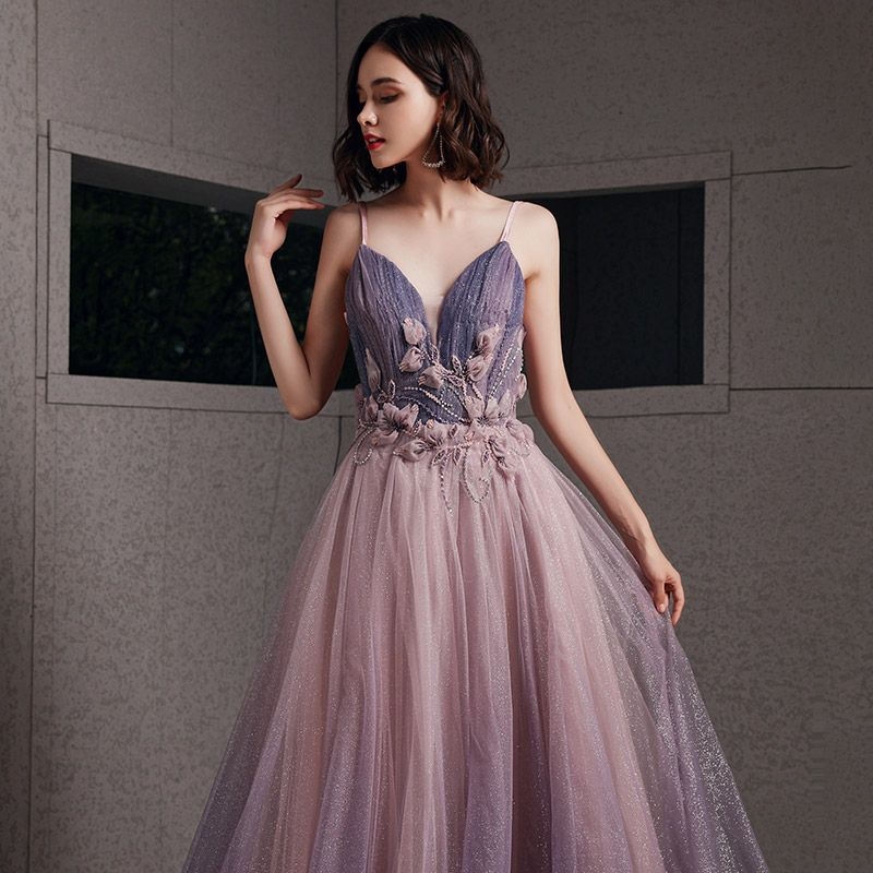 Sexy Blushing Pink Evening Dresses  2020 A-Line / Princess Spaghetti Straps Deep V-Neck Sleeveless Glitter Tulle Appliques Lace Beading Floor-Length / Long Ruffle Backless Formal Dresses