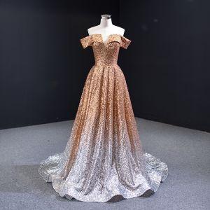 Błyszczące Złote Gradient-Kolorów Białe Cekiny Sukienki Wieczorowe 2020 Princessa Przy Ramieniu Kótkie Rękawy Trenem Sweep Bez Pleców Sukienki Wizytowe
