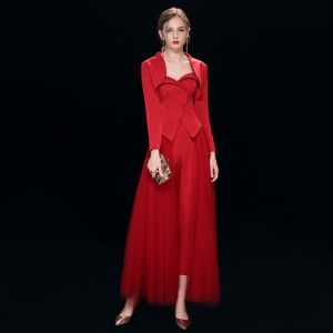Vintage / Retro Red Jumpsuit 2019 A-Line / Princess Sweetheart With Shawl Long Sleeve Ankle Length Ruffle Evening Dresses