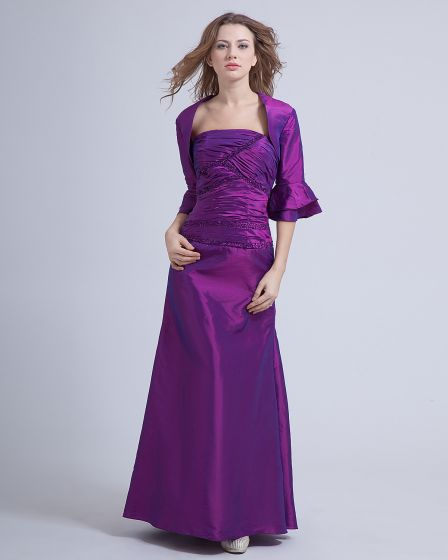Taffeta Beading Floor Length Mothers of Bride Guests Dress