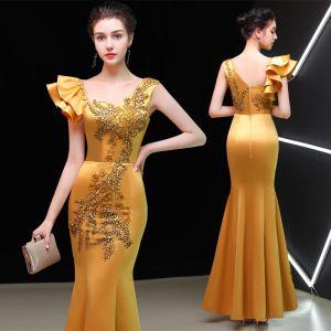 Chinesischer Stil Gold Abendkleider 2019 Meerjungfrau Eckiger Ausschnitt Ärmellos Stickerei Blumen Lange Rüschen Rückenfreies Festliche Kleider