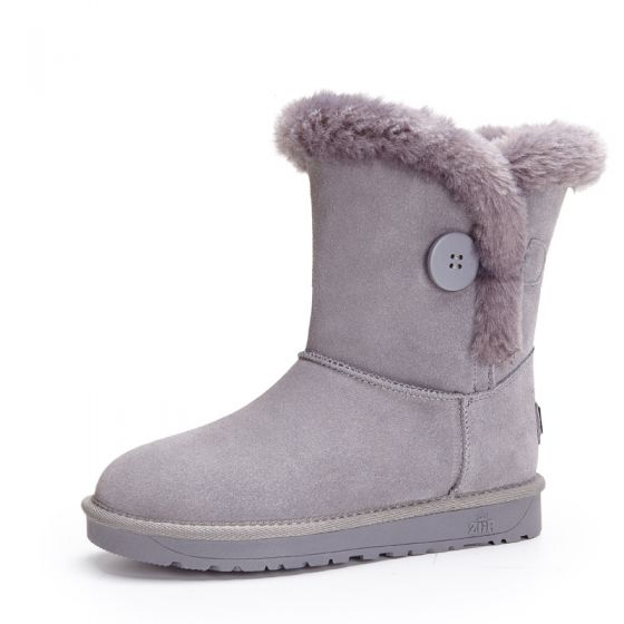 Modest / Simple Snow Boots 2017 Grey Leather Mid Calf Suede Buttons Casual Winter Flat Womens Boots