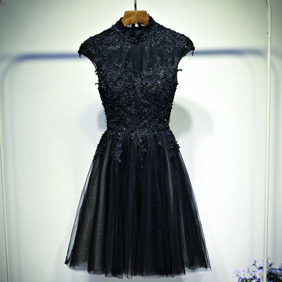 Hermoso Negro Vestidos Formales Vestidos de noche 2017 Con Encaje Flor Perla Cremallera Para Arriba Sin Mangas Cortos A-Line / Princess