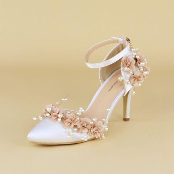 Elegante Blanco Zapatos de novia 2020 Perla Flor Correa Del Tobillo 8 cm Stilettos / Tacones De Aguja Punta Estrecha Boda De Tacón