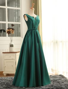 Evening Dress 2016 Simple Deep V-neck Ruffled Dark Green Satin Long Formal Dress With Sash