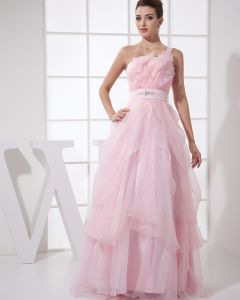 Strapless Beading Ruffle Sleeveless Zipper Floor Length Organza Silk Woman Prom Dress