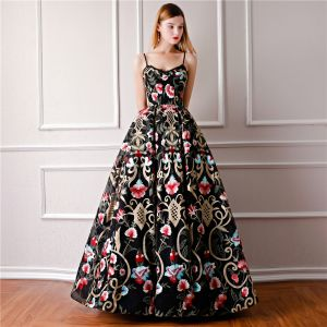 Modern / Fashion Black Prom Dresses 2019 Ball Gown Spaghetti Straps Sleeveless Embroidered Flower Floor-Length / Long Ruffle Backless Formal Dresses