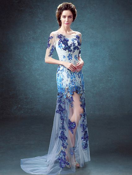 Sexy Evening Dresses 2016  Scoop Neckline Printing Flowers Sequins Tulle Dress