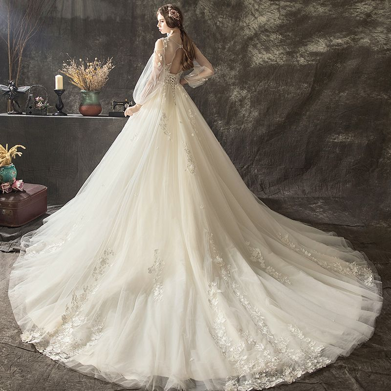 Charming Champagne Wedding Dresses 2018 A-Line / Princess Lace Flower Appliques Pearl Scoop Neck Long Sleeve Backless Cathedral Train Wedding
