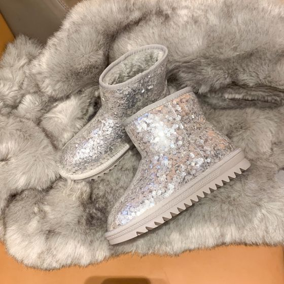 Chic / Beautiful Glitter Silver Snow Boots 2020 Flat Woolen Rubber Beading Sequins Ankle Casual Night Out Round Toe Winter Womens Boots
