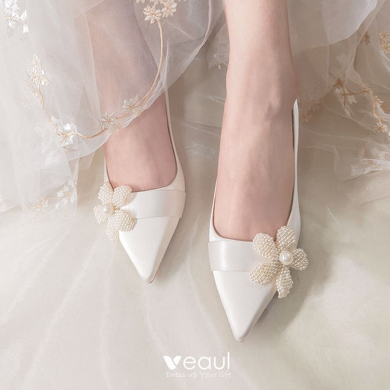 Elegant Ivory Wedding Shoes 2020 Leather Pearl Flower 5 cm ...