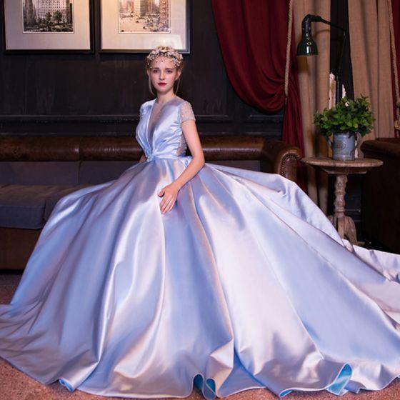 Luxury / Gorgeous Sky Blue Prom Dresses 2017 V-Neck Lace Backless Handmade  Wedding Formal Dresses