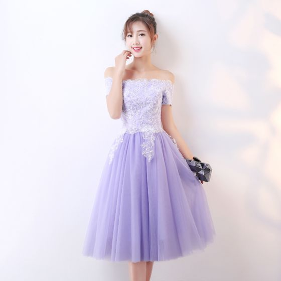 Chic / Beautiful Lavender Homecoming Graduation Dresses 2017 A-Line / Princess Off-The-Shoulder Short Sleeve Appliques Sequins Tea-length Ruffle Backless Formal Dresses