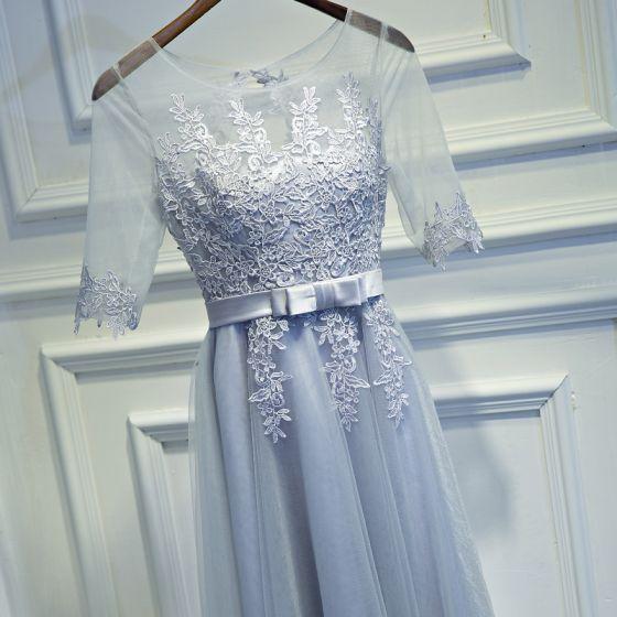 Schlicht Silber Brautjungfernkleider 2017 A Linie Mit Spitze Rundhalsausschnitt Blumen Schleife Rückenfreies 1/2 Ärmel Kurze Kleider Für Hochzeit