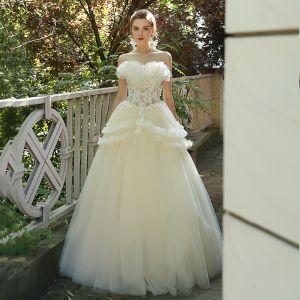 9db06aee Sjarmerende Elfenben Brudekjoler 2019 Prinsesse Buste Strapless Appliques  Paljetter Blonder Blomst Uten Ermer Ryggløse Lange