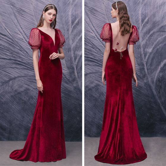 Sexy Red Velour Evening Dresses  2020 Trumpet / Mermaid See-through Deep V-Neck Puffy Long Sleeve Beading Spotted Tulle Sweep Train Formal Dresses