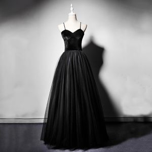 Modest / Simple Black Suede Prom Dresses 2019 A-Line / Princess Spaghetti Straps Sleeveless Floor-Length / Long Ruffle Backless Formal Dresses